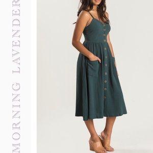 Morning Lavender Hunter Green Button Midi Dress